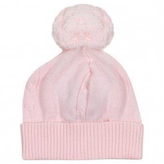 Emile Et Rose Fuzzy Bobble Hat Pale Pink