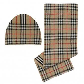 Burberry Check Stripe Hat & Scarf Set Archive Beige