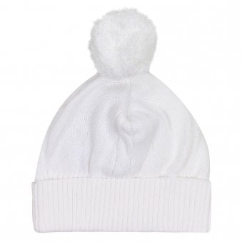 Emile Et Rose Fuzzy Bobble Hat White