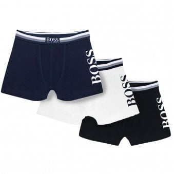 Boss 3pk Boxer Shorts White, Navy & Black