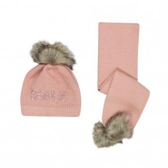 Mayoral Hat & Scarf Set Pink