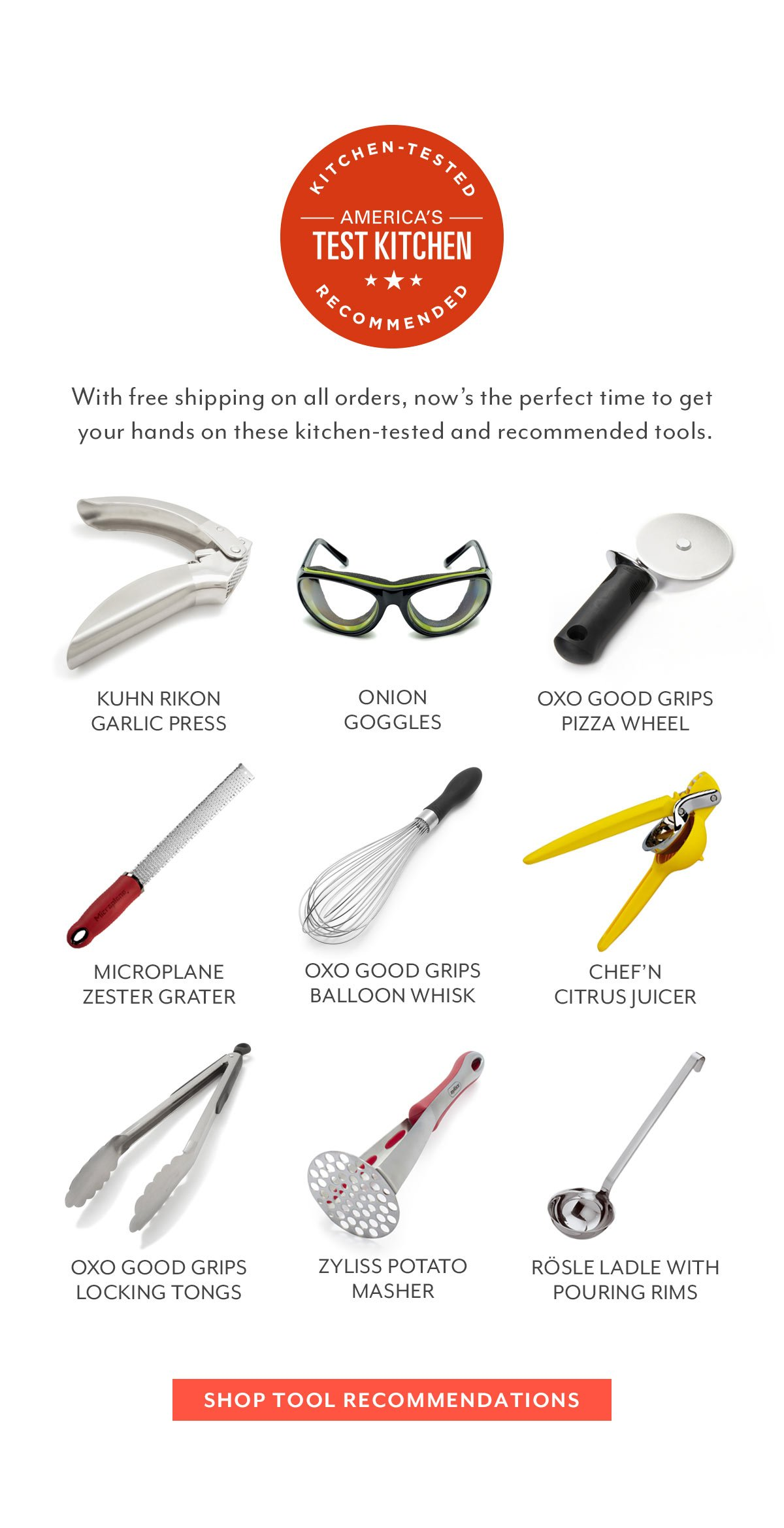 America's Test Kitchen Tool Recommendations
