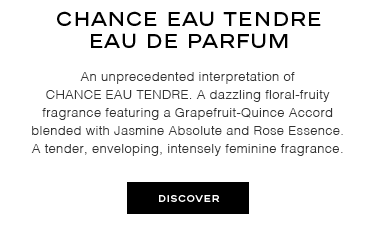 An unprecedented interpretation of CHANCE EAU TENDRE. A dazzling floral-fruity fragrance featuring a Grapefruit-Quince Accord blended with Jasmine Absolute and Rose Essence. A tender, enveloping, intensely feminine fragrance.