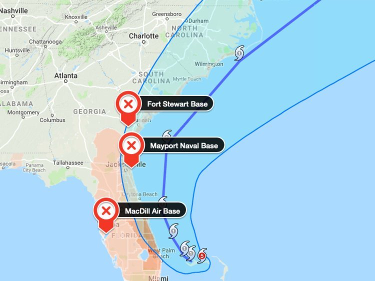 The US military is scrambling to ready its bases and get planes and ships out of the way of Hurricane Dorian