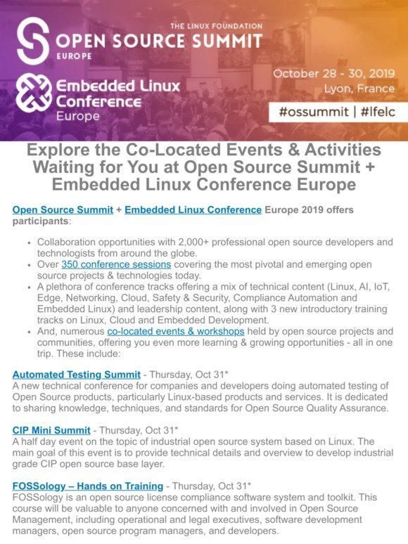 The Linux Foundation: Check out the Open Source Summit + ELC