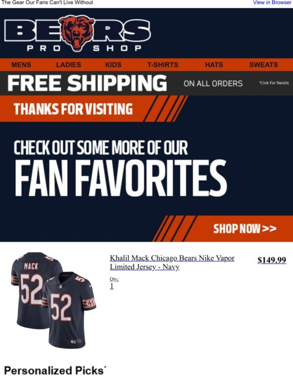 new style ab7b8 13e52 Chicago Bears: More Gear You'll Love   Milled