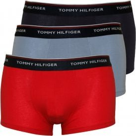 Navy with red//white//navy Tommy Hilfiger 3-Pack Premium Essentials Boxer Trunks