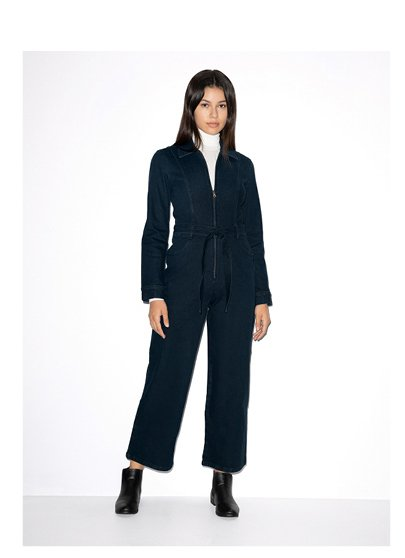 Stretch Denim Long Sleeve Coverall