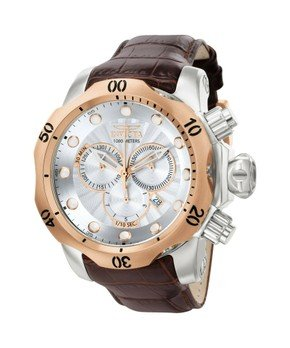 Invicta Venom  Quartz Watch - Rose Gold, Stainless Steel case with Brown tone Leather band
