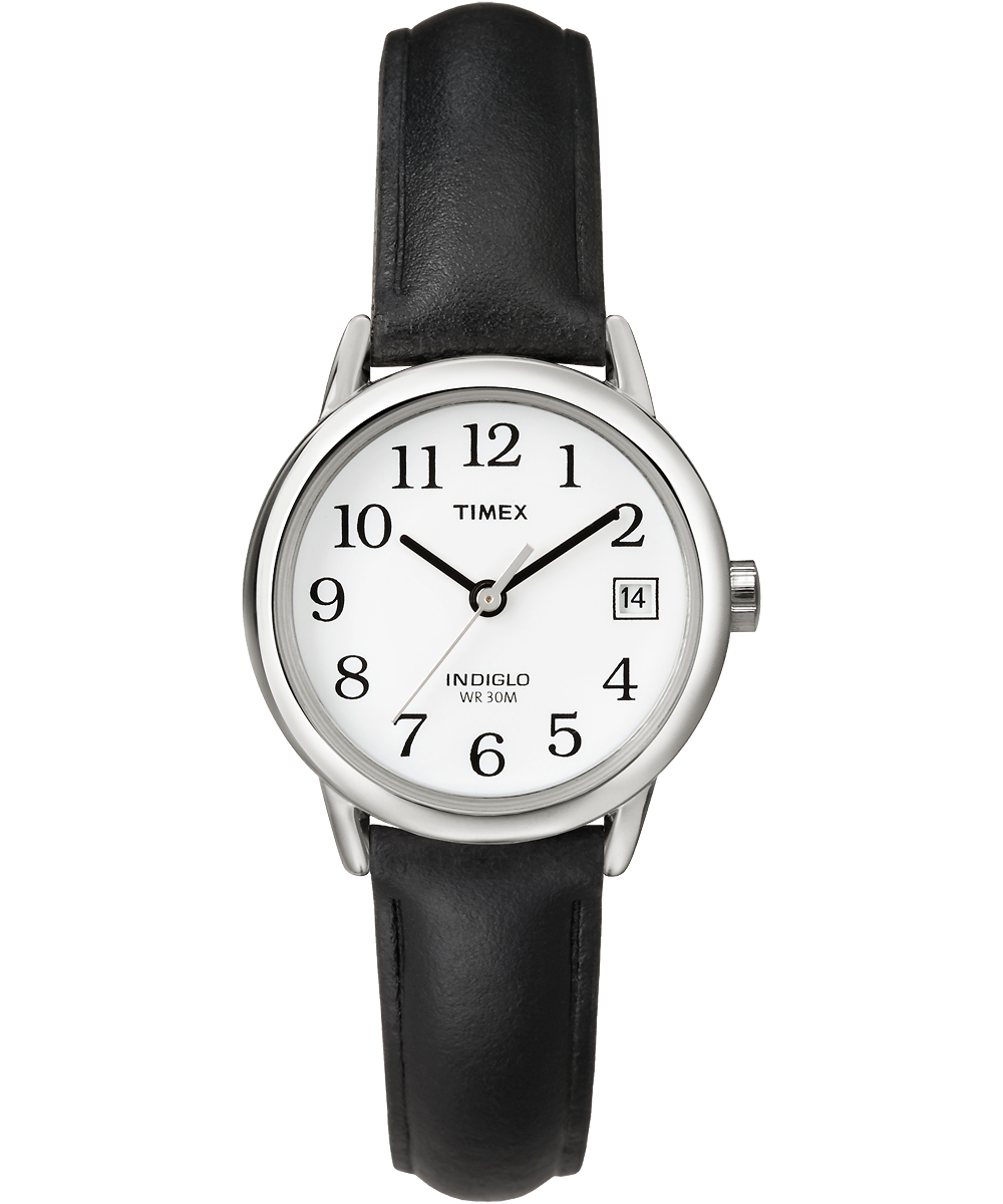 Timex Watch Women's Easy Reader 25MM Leather Strap Silver-Tone/black/white | Item # T2H3319J