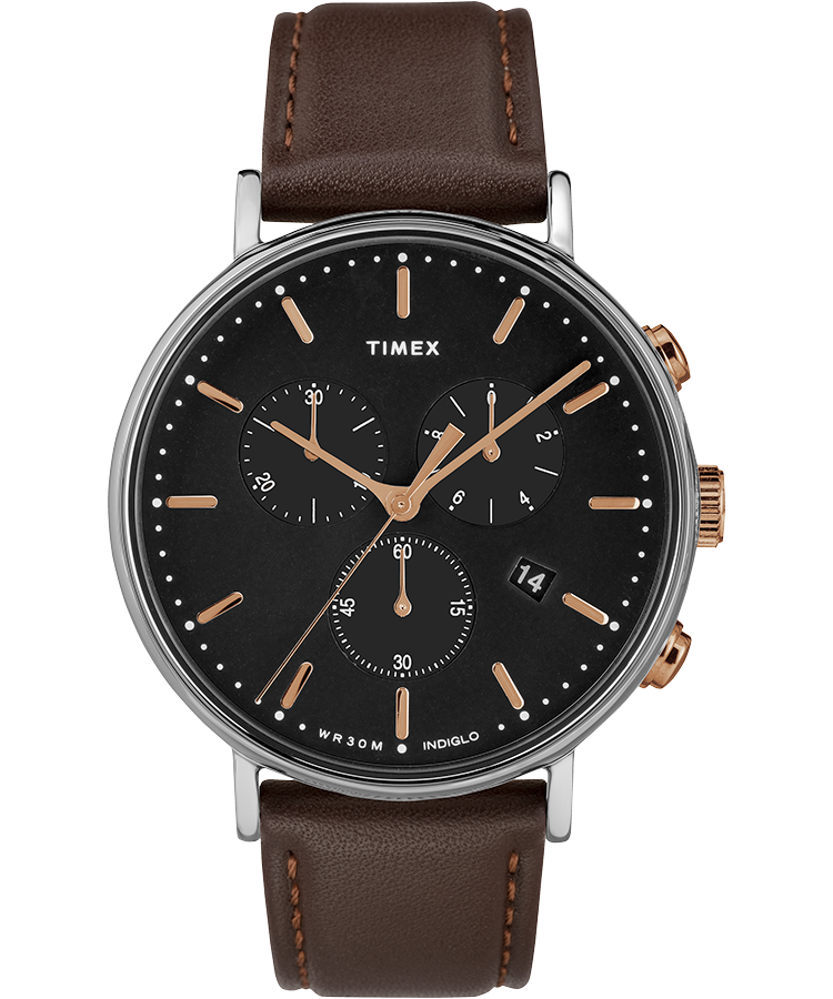 Timex Watch Men's Fairfield Chronograph 41MM Leather Strap Silver-Tone/brown/black | Item # Tw2T11500Vq