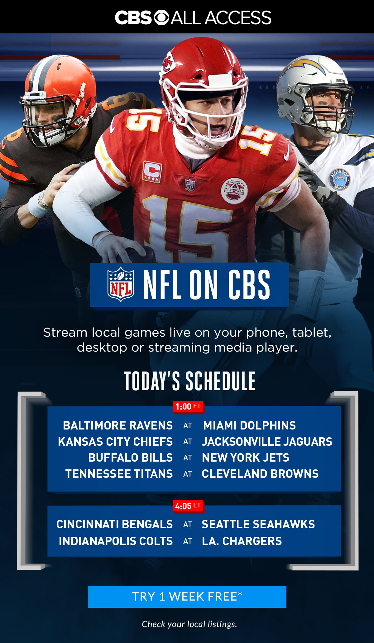 Cbs Sports Stream Nfl On Cbs At Home Or On The Go With Cbs All Access Milled