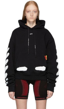 Off-White - SSENSE Exclusive Black Incomplete Spray Hoodie