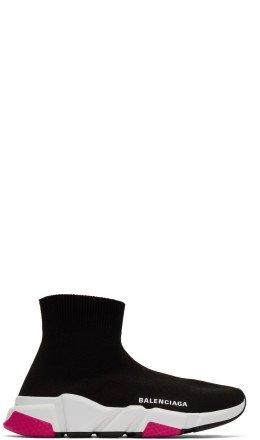 Balenciaga - Black & Pink Speed Sneakers