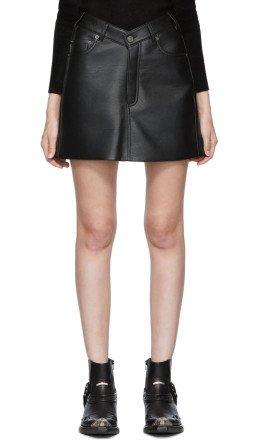 Balenciaga - Black Faux-Leather V-Neck Miniskirt