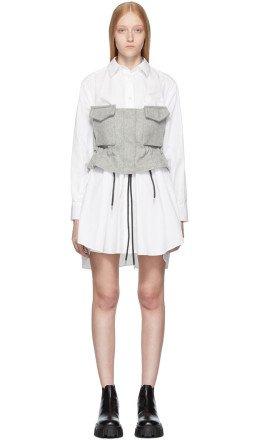 Sacai - White & Grey Poplin Shirt Dress