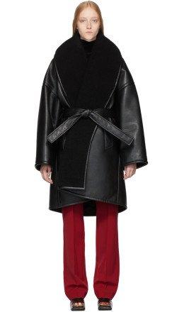 Balenciaga - Black Faux-Leather Light Cocoon Coat