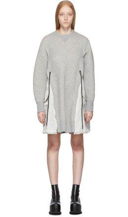 Sacai - Grey Spongy Sweatshirt Dress