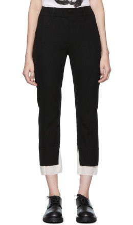 Ann Demeulemeester - Black Lainecotton Cropped Trousers