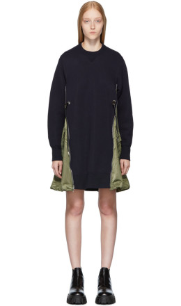 Sacai - Navy Spongy Sweatshirt Dress