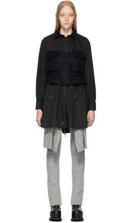 Sacai - Black Poplin Shirt Dress