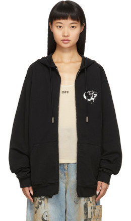 Off-White - Black 3D Line Zip-Up Hoodie