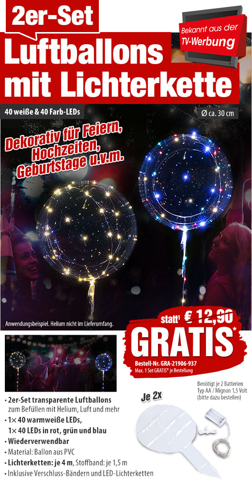Ø 30 cm transparent infactory 4er-Set Luftballons 40 Farb-LEDs Lichterkette