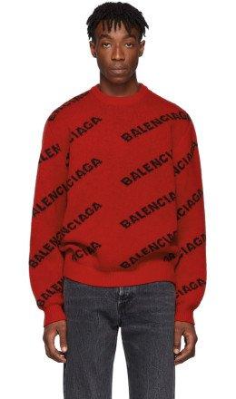 Balenciaga - Red & Black Wool All Over Logo Sweater