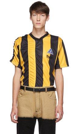 Martine Rose - Yellow & Black Ruched Football T-Shirt