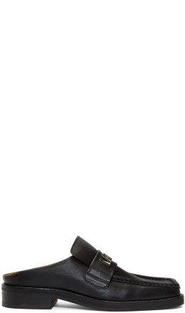Martine Rose - SSENSE Exclusive Black Logo Plaque Mules