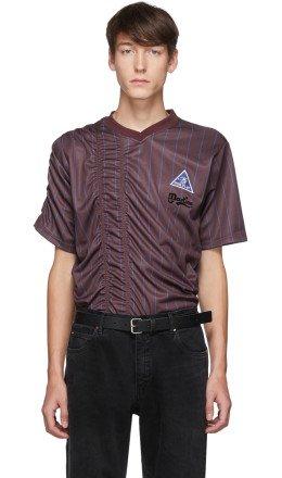 Martine Rose - Burgundy & Blue Ruched Football T-Shirt