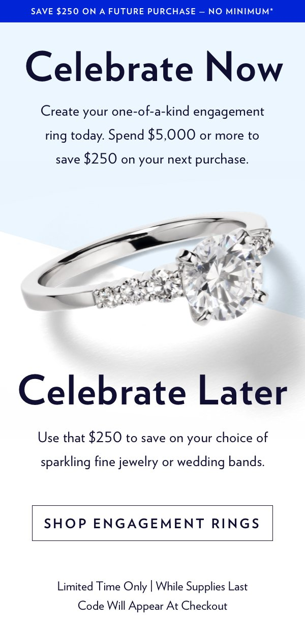 Blue Nile Don T Miss This Engagement Ring Offer 250 Off Your Next Purchase Milled