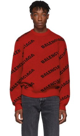 Balenciaga - Red & Black Wool All Over Logo Sweater