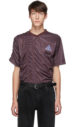 Martine Rose - Burgundy & Blue Ruched Football T-Shirt