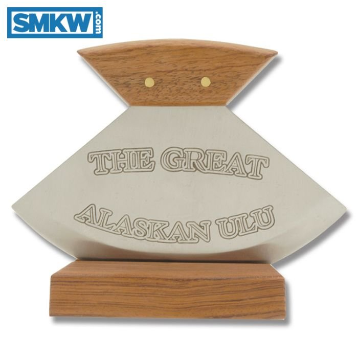 ROUGH RIDER THE GREAT ALASKAN ULU WITH WOOD HANDLES AND 440A STAINLESS STEEL PLAIN EDGE BLADES