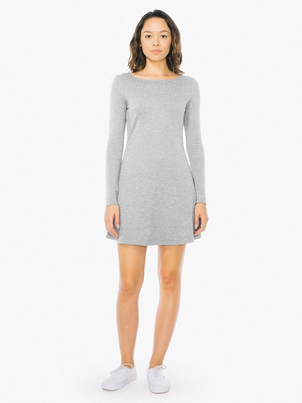 Women's Ponte Long Sleeve Mini Dress in Heather Grey Size Small, Nylon/Spandex by American Apparel