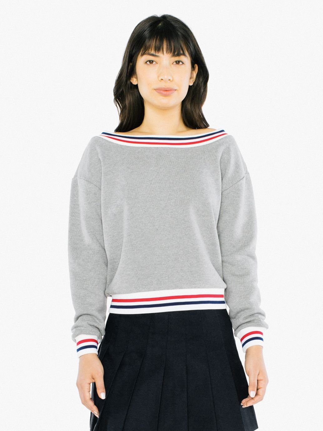 Women's Heavy Terry Sport Sweatshirt in Zinc/Navy Blue/Red Size Small, Cotton by American Apparel
