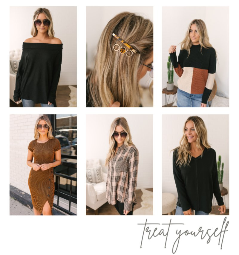 black sweaters plaid top hair clips