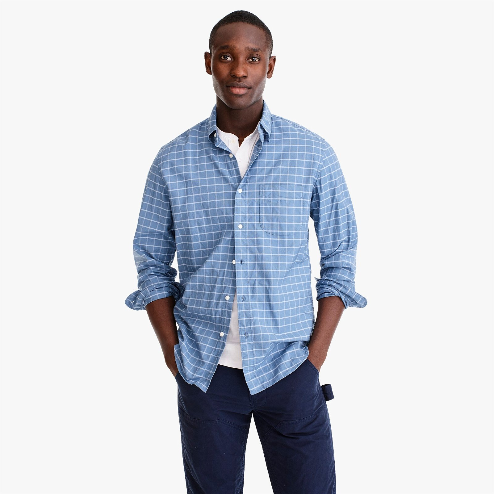Slim Untucked American Pima cotton oxford shirt with mechanical stretch in windowpane