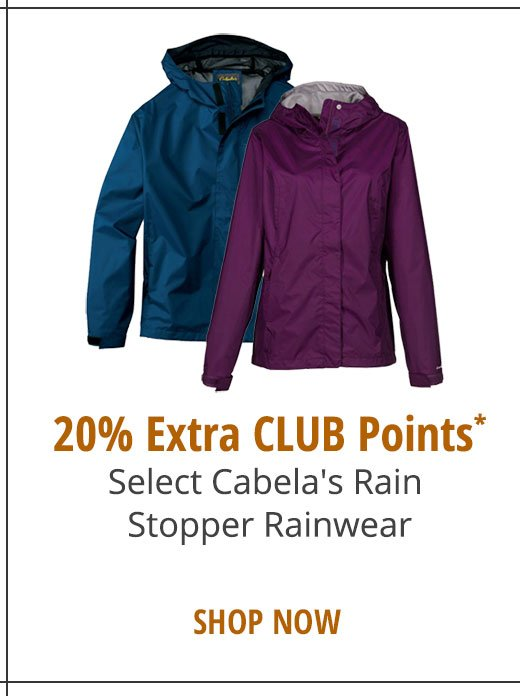 20% EXTRA CLUB POINTS - Select Cabela's Rain Stopper Rainwear