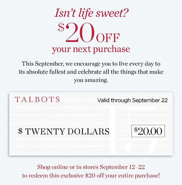$20 off your next purchase. Shop Now