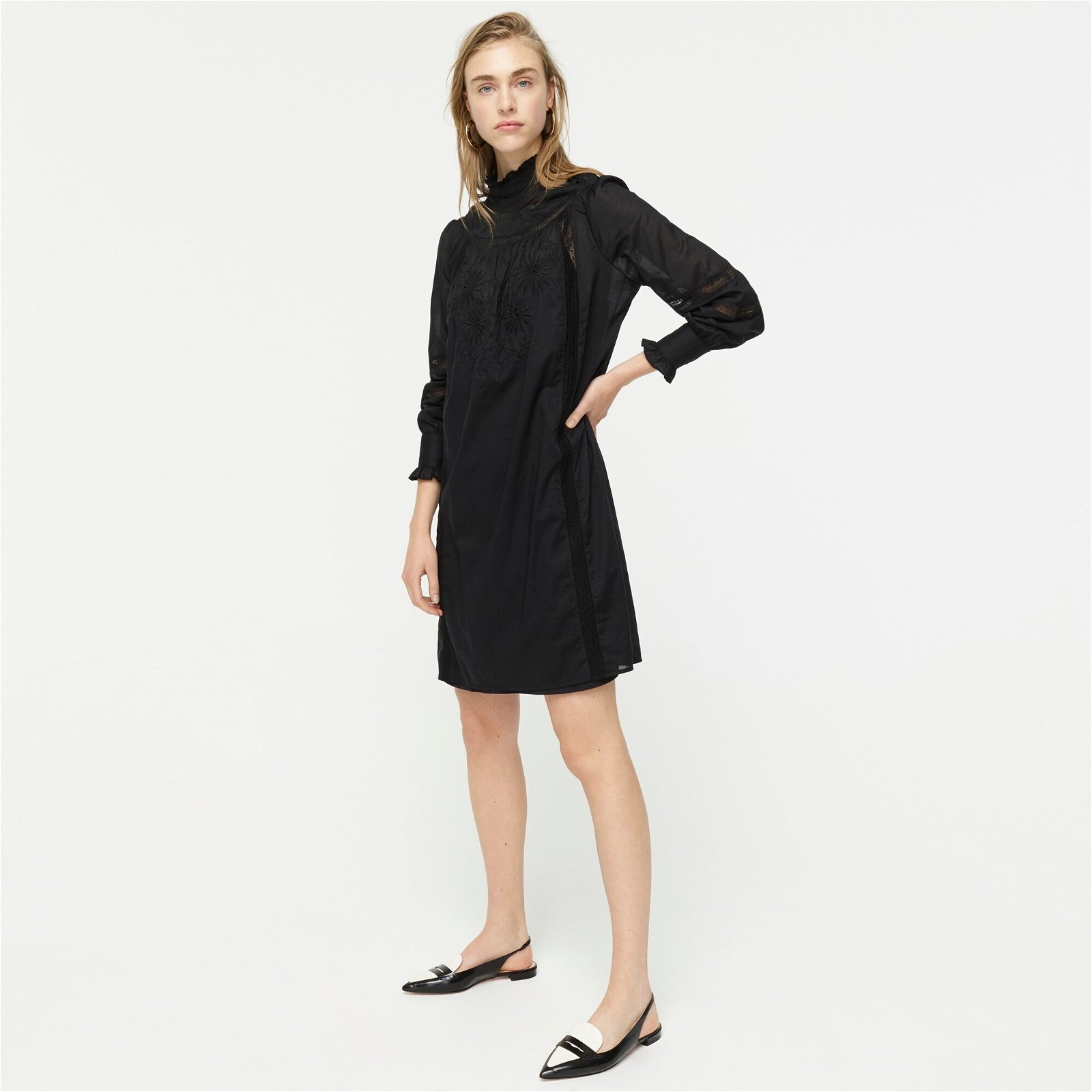 High-neck tunic dress in Cotton