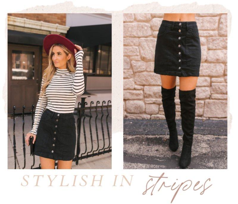 striped top black button skirt