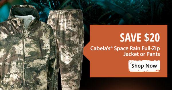 Save $20 on Cabela's Space Rain Full-Zip Jacket or Pants