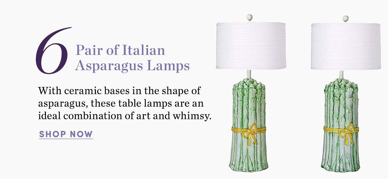 6. Pair of Italian Asparagus Lamps