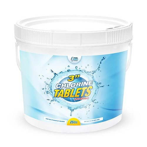 3in. 25lb Pool Tri-Chlor Chlorine Tablets - Stabilized & Slow Dissolving
