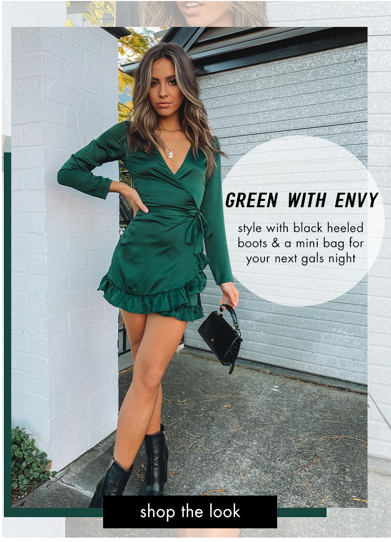 Step Up Long Sleeve Dress Emerald
