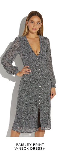 PAISLEY PRINT V-NECK DRESS