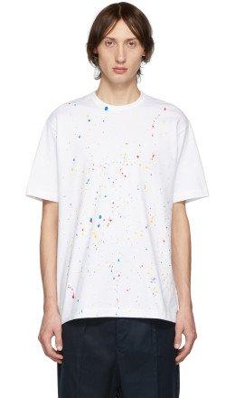 Comme des Garçons Homme - White & Multicolor Paint Splatter T-Shirt