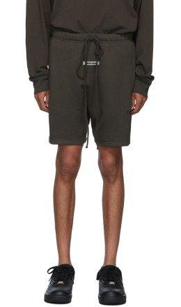 Essentials - Khaki Logo Sweat Shorts